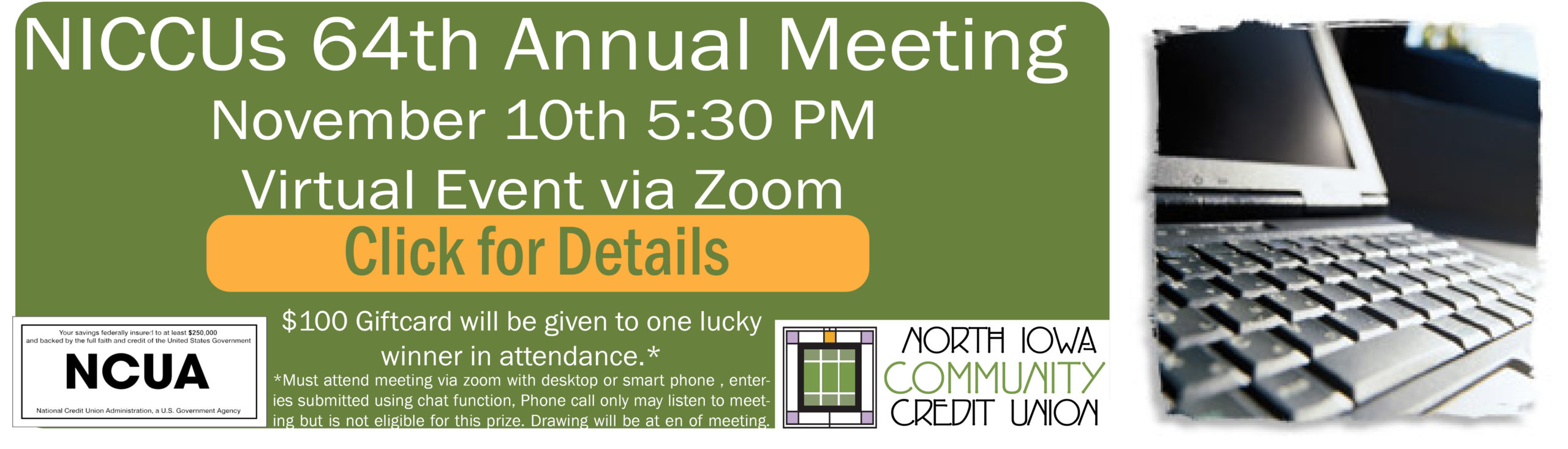 Annual Meeting Notice on November 10th at 5:30 PM, Free virtual Event Via Zoom